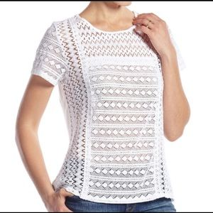 Lucky Brand White Vine Lace Short Sleeve Top Sz S